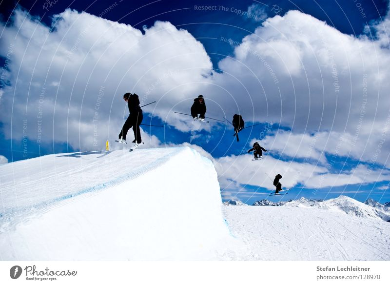 Beautiful Sun Clouds Joy Winter Mountain Snow Background picture Freedom Flying Jump Leisure and hobbies Large Shows Alps Risk