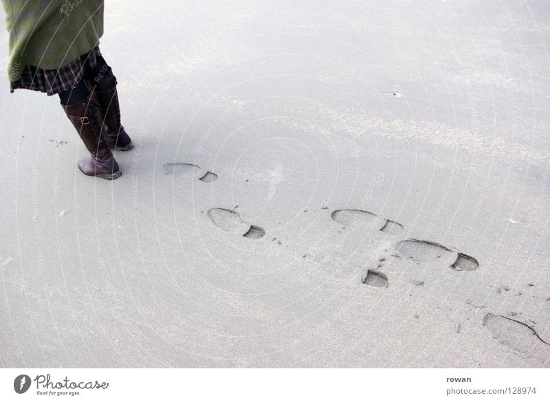 Human being Beach Cold Lanes & trails Sand Coast Legs Feet Going To go for a walk Transience Tracks Past Footprint Boots Pedestrian
