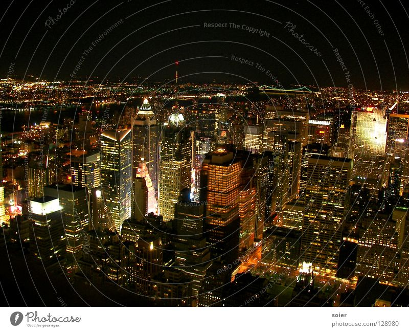 View from Empire to Times Square Manhattan New York City Night Town Large Narrow Far-off places Thousand lights mega nightlife