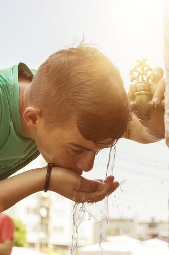 Boy drinks water from oriental faucets Drinking Drinking water Style Vacation & Travel Tourism Human being Masculine Boy (child) 1 8 - 13 years Child Infancy