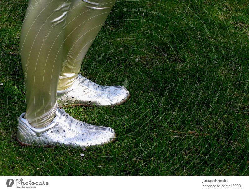Woman Legs Feet Dance Going Footwear Modern Retro Trashy Narrow Silver Sneakers Gymnastics Short Steppe Hop