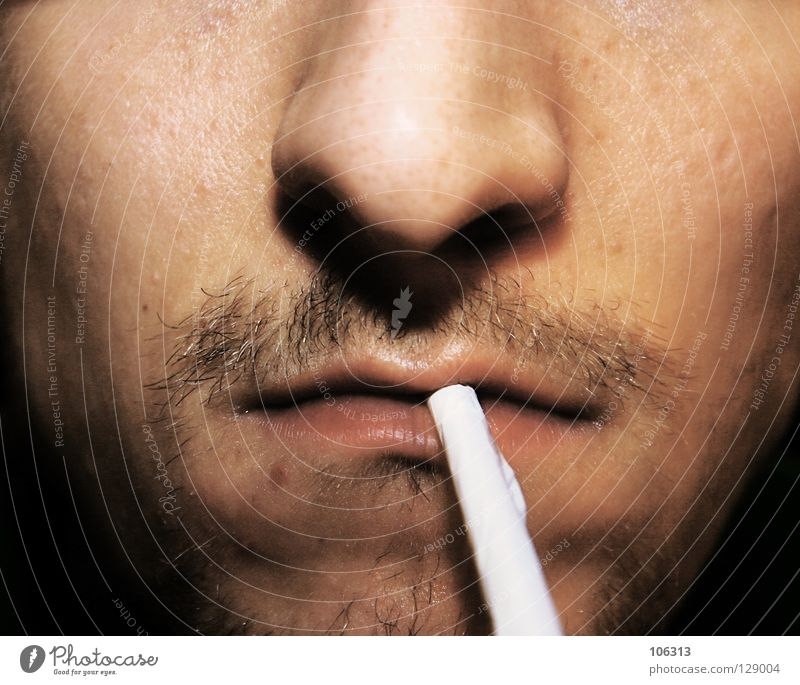 Fire? Smoking Man Adults Designer stubble Judicious Stress Drug addiction Cigarette Man`s mouth Unshaven Stubble Beard hair Partially visible Detail of face