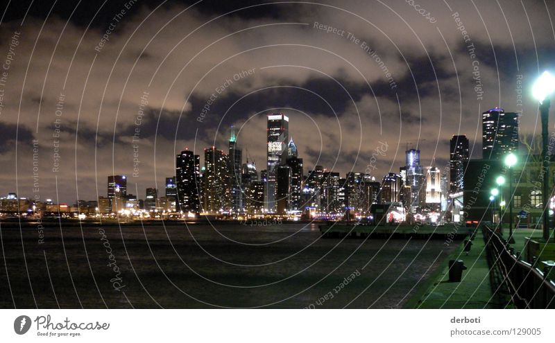 Cloudy Chicago Skyline Town High-rise Clouds Night Street lighting Lake USA Navy Pier Harbour harbor dark dark street light