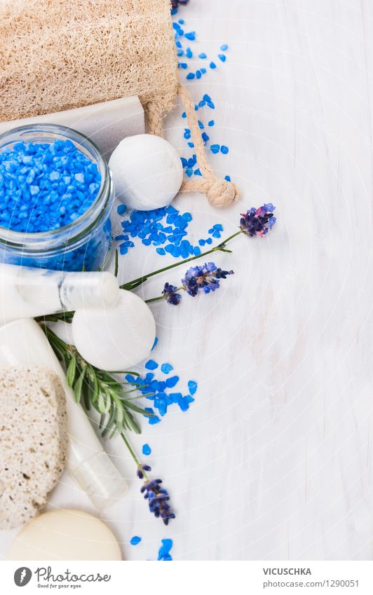 Nature Blue White Relaxation Life Style Background picture Design Wellness Bathroom Well-being Fragrance Text Wooden table Aromatic Cream