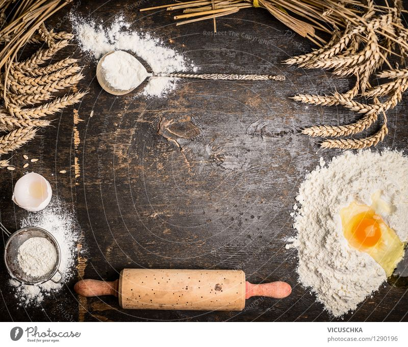 Background for baking with utensils and ingredients Food Dough Baked goods Bread Nutrition Organic produce Spoon Style Design Life House (Residential Structure)