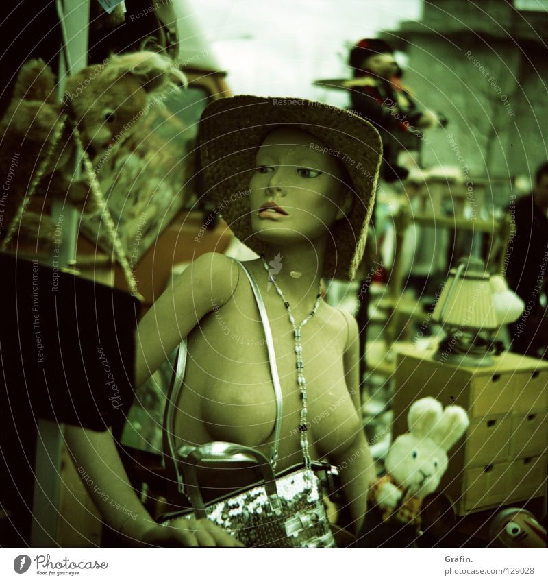 Woman Lamp Naked Glittering Model Decoration Hat Jewellery Trashy Doll Chain Bag Hare & Rabbit & Bunny Hideous Mannequin Shop window