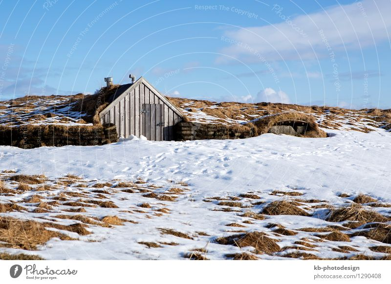 Tiny hut with blue sky in snowy Iceland Vacation & Travel Tourism Winter House (Residential Structure) tiny small accommodation elve elves volcano island