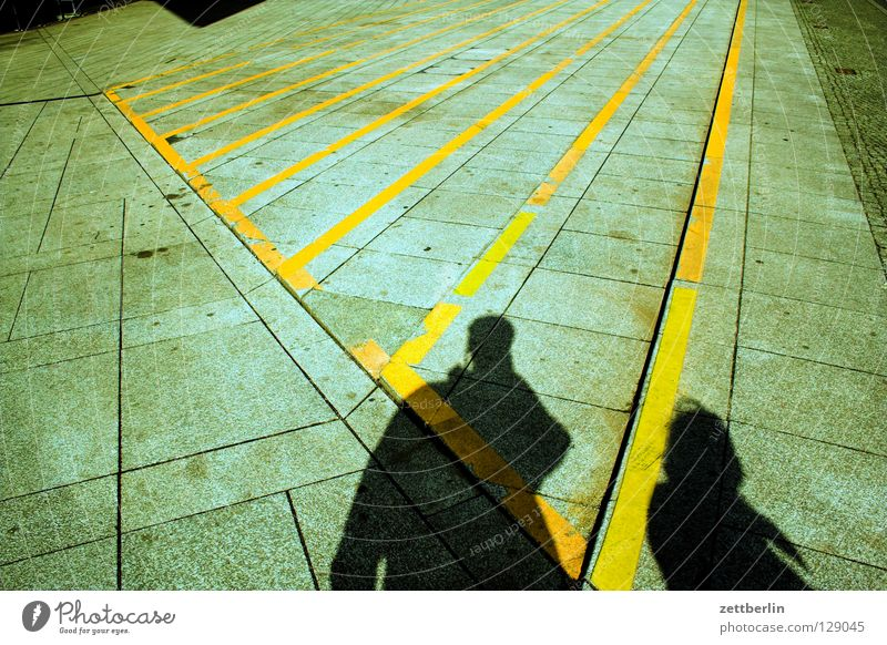shadow Stripe Colour Guide Central perspective Vanishing point Places Neue Mitte Woman Man Relationship Couple 2 Traffic infrastructure Human being Stairs
