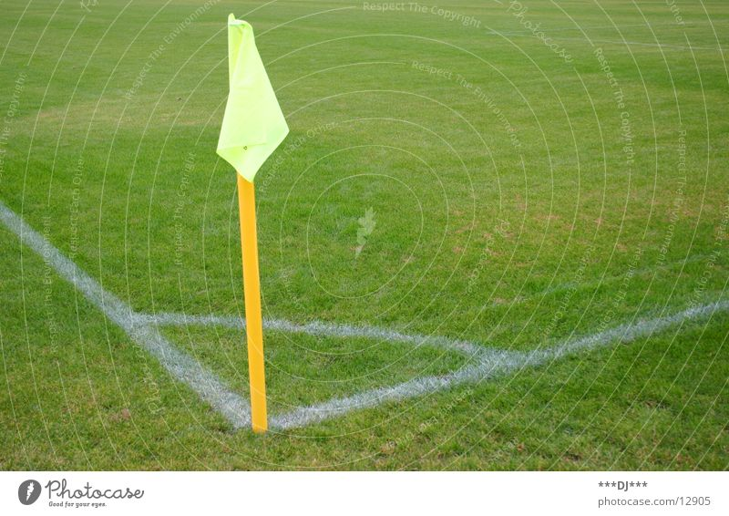 Yellow Sports Playing Grass Soccer Lawn Flag Border Playing field Corner