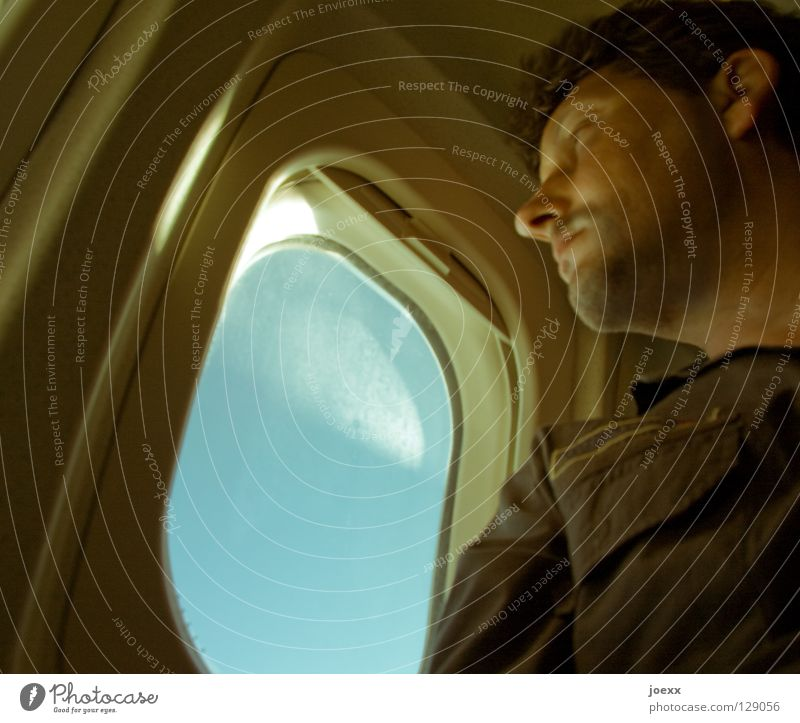 Sky Man Vacation & Travel Summer Joy Face Relaxation Window Warmth Contentment Going Fear Trip Beginning Airplane Tourism