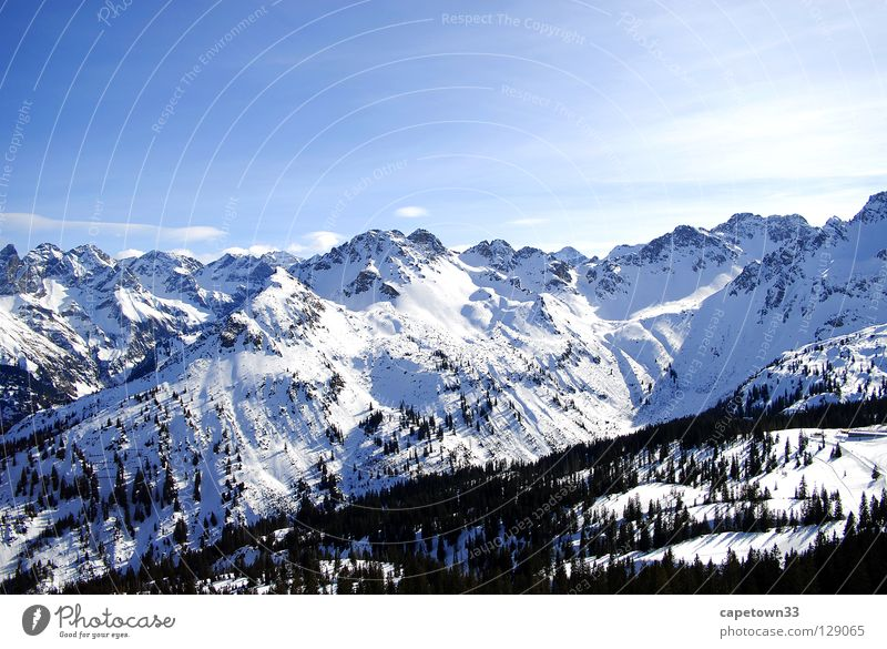 Sky White Sun Blue Winter Forest Snow Mountain Landscape Peak Valley