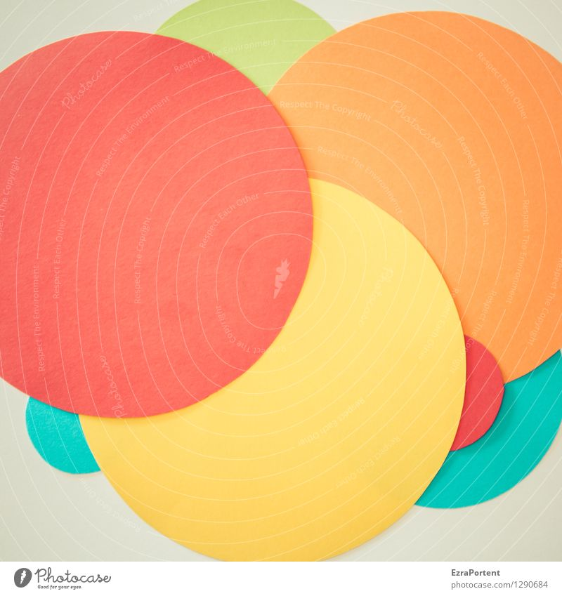 Blue Green Colour White Red Yellow Style Background picture Line Bright Orange Design Happiness Esthetic Circle Paper