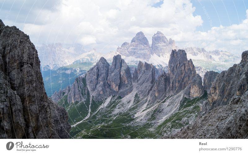 rock outcrops Vacation & Travel Tourism Trip Mountain Environment Nature Landscape Elements Sky Clouds Horizon Summer Beautiful weather Rock Alps Dolomites