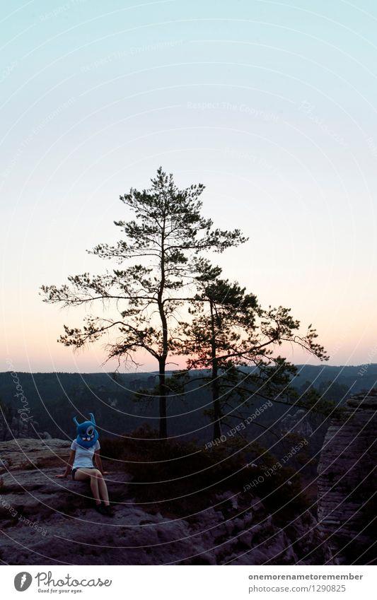 Blue Tree Joy Feminine Art Rock Sit Esthetic Posture Wanderlust Mask Work of art Tourist Costume Carnival costume Monster