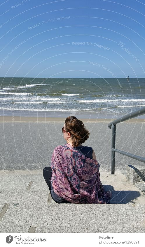Just me! Human being Woman Adults Life 1 Environment Nature Landscape Elements Water Horizon Summer Waves Coast Beach North Sea Ocean Natural Warmth Sit