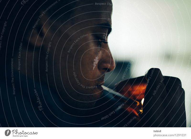 Human being Youth (Young adults) Man Young man 18 - 30 years Dark Black Adults Head Glittering Masculine Illuminate Observe Fire Near Cigarette