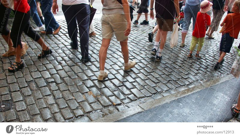 flex Footwear Going Pants Man Group Feet Walking Legs Cobblestones Street