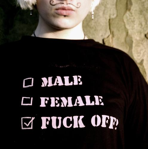 No discussion. Masculine Feminine Crap Indifference Gloomy T-shirt Black Screen print Textiles Facial hair Moustache Reduce French Checkmark Gender Shave Anger