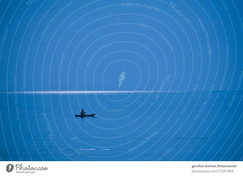 blue width Human being 1 Elements Water Sky Horizon Summer Climate Weather Thunder and lightning Coast Ocean Fishing village Navigation Boating trip Rowboat