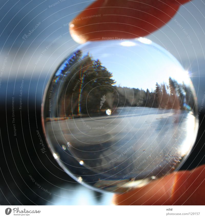 Lens in front of the lens 1 Reflection Rotated Foreground Background picture Point of light Round Blur Vaulting Sun Beautiful Convex Focal point Lake Pond