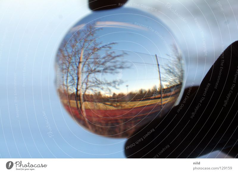 Beautiful Landscape Playing Background picture Glass Circle Round Beautiful weather Simple Reflection Fence Border Lens Optics Distorted Point of light