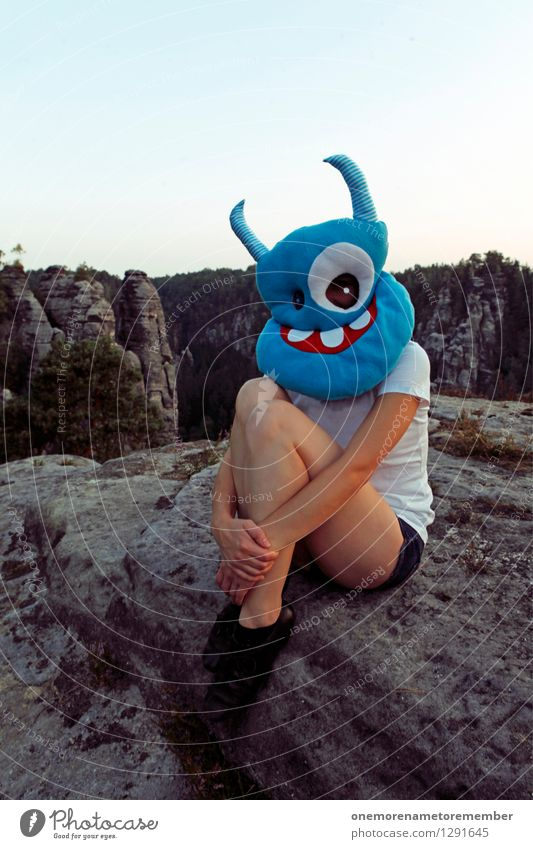 rock stool Art Work of art Esthetic Monster Ogre Monstrous Extraterrestrial being Blue Mask Dress up Costume Carnival costume Feminine Crouch Crouching Legs