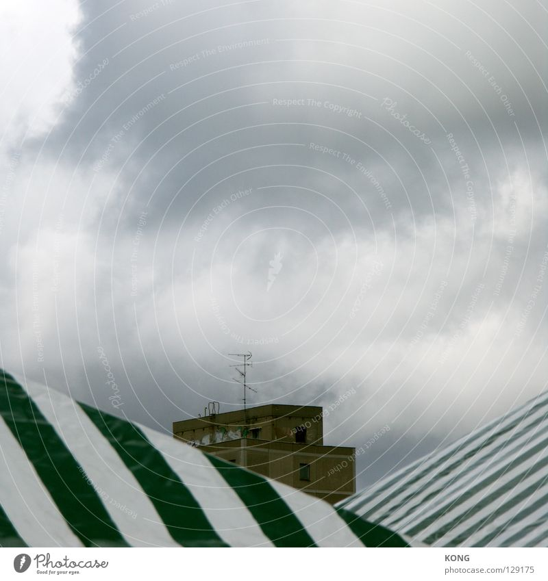 with a view. Clouds Bad weather Smog Concrete Prefab construction New building Roof Antenna Tent Stripe Striped Horizon Autumn Background picture