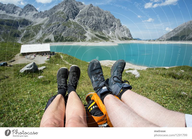 idyllic Vacation & Travel Woman Adults Man Landscape Water Sky Clouds Summer Mountain meadow Lake Lünersee Mountain lake Brandnertal Federal State of Vorarlberg