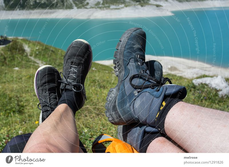 Human being Woman Nature Vacation & Travel Man Blue Green Summer Water Relaxation Landscape Black Adults Legs Lake Feet