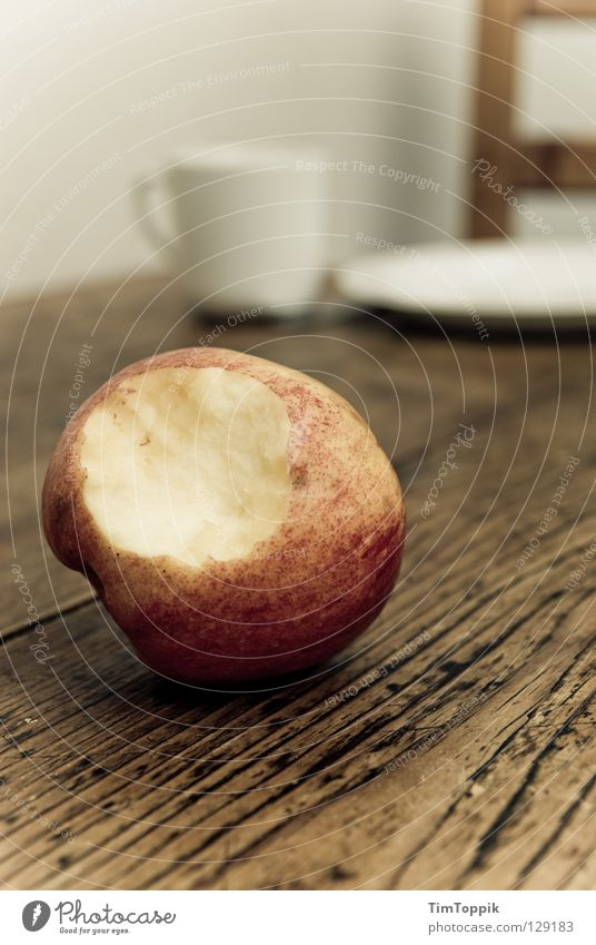 Still Life with Apple I Table Tabletop Cup Plate Kitchen Meal Breakfast Dinner Coffee cup Wood Wooden table Wooden chair Crockery Apple skin Vitamin Diet