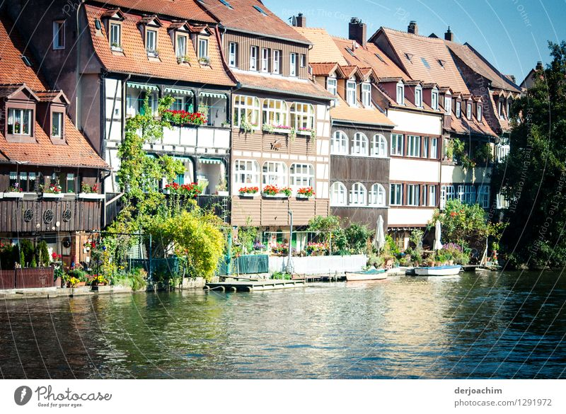 Little Venice. Venice flair in Bamberg.  The river, the old half-timbered houses and blue sky. Design Harmonious Trip Living or residing Environment Water