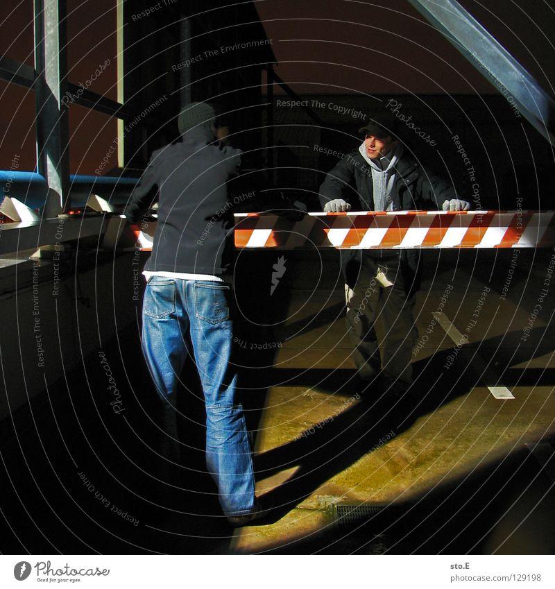 dark | two men standing Fellow Posture Night Dark Black Light Artificial light Lamp Parking level Gloves Cap Glittering Midnight Vantage point Far-off places