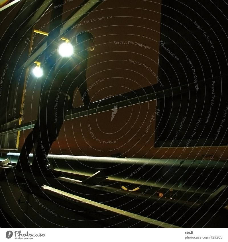 Human being Black Far-off places Cold Dark Metal Lamp Lighting Glittering Perspective Stand Posture To hold on Vantage point Cap Traffic infrastructure
