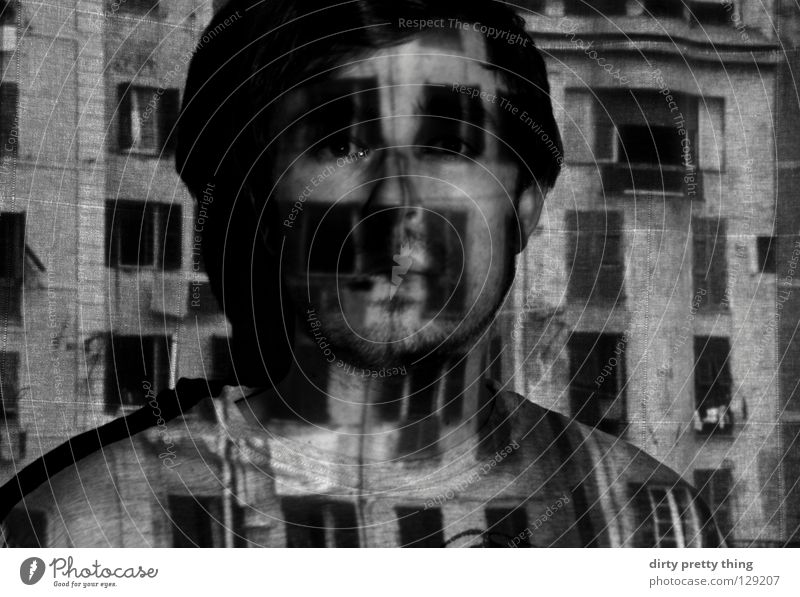 window front Portrait photograph Window Perpetrator Unclear Black & white photo Town project Look me in the eye. Hide