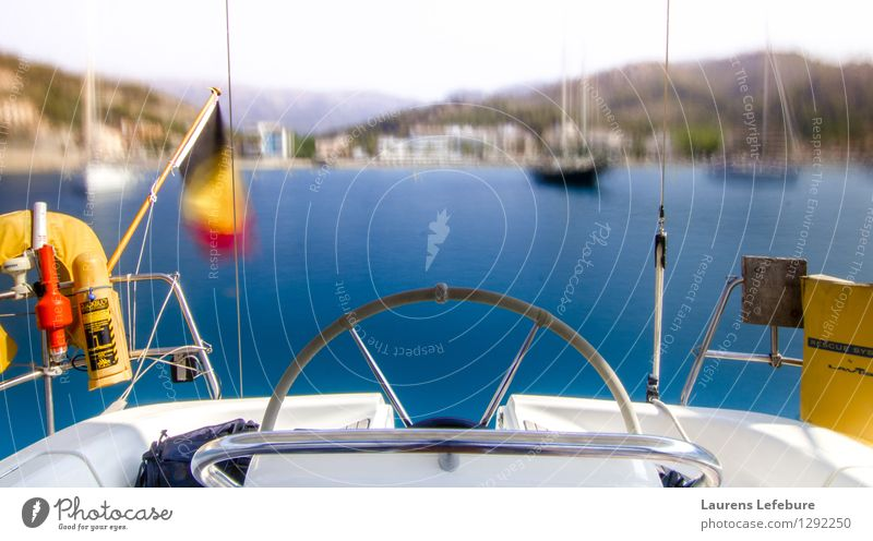 sailboat cockpit with blurry bay in the background Sailing Esthetic Boating trip Vacation & Travel Bay Ocean Yacht Summer vacation Sailing ship life on a boat