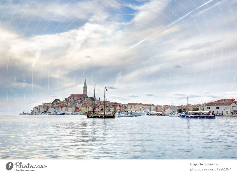 Rovinj or Rovigno in Croatia in the late afternoon Vacation & Travel City Old Blue Beautiful Clouds Architecture Tourism Idyll To enjoy Europe Picturesque Harbour Navigation Town Croatia