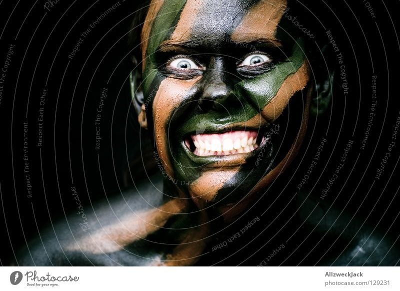 Woman Green Joy Black Face Eyes Dark Style Brown Power Fear Dangerous Crazy Might Threat Bathroom