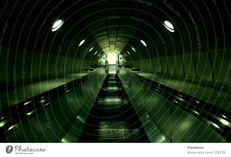 Sky City Green Loneliness Dark Lanes & trails Metal Line Time Stairs Modern Empty Future Film industry Tunnel