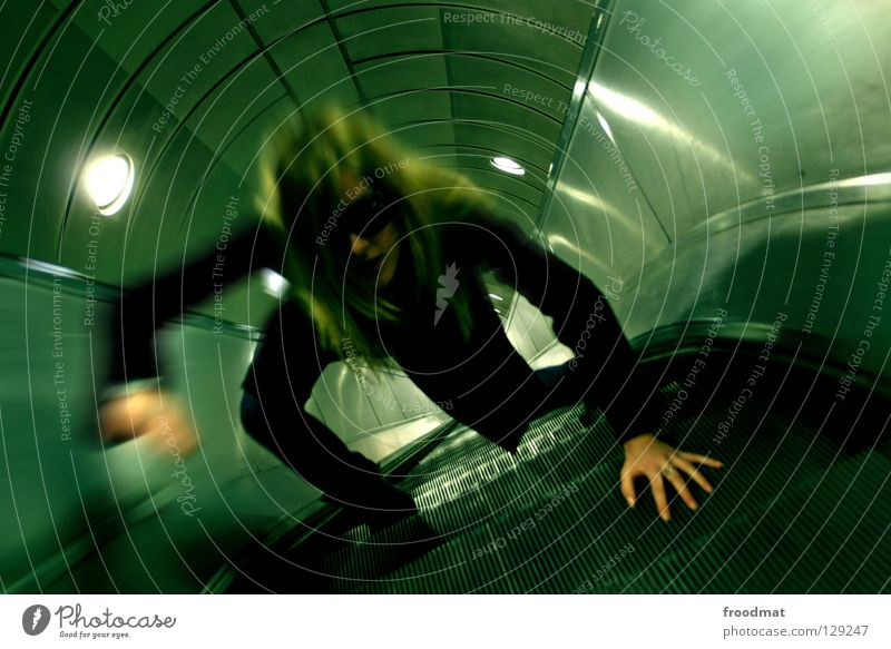 Woman Sky City Green Black Loneliness Dark Movement Lanes & trails Metal Line Time Stairs Modern Empty