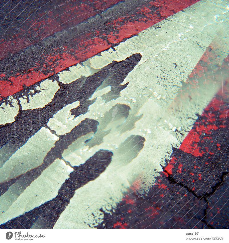 Street Signs and labeling Signage Asphalt Parking lot Double exposure Parking Surrealism Bans Flake off Parking garage Street sign Prism Diminish