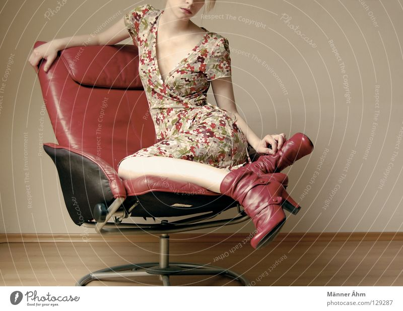 Woman Red Flower Joy Wood Think Legs Feet Footwear Arm Wait Sit Floor covering Clothing Chair Multicoloured