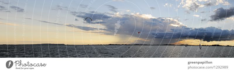 Baltic weather Fishing (Angle) Surfing Summer vacation Ocean Island Waves Sailing Windsurfer Windsurfing Nature Landscape Water Sky Clouds Storm clouds Horizon