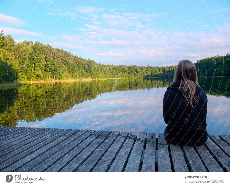 Human being Youth (Young adults) Water Young woman Relaxation Calm 18 - 30 years Adults Sadness Wood Lake Trip Lakeside Turquoise Footbridge Smoothness
