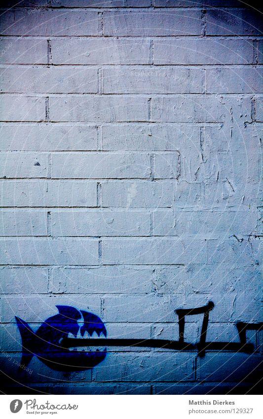 Wall (building) Graffiti Wall (barrier) Line Fish Derelict Spain Radiation Bite Barcelona Shark Street art Mural painting Piranha