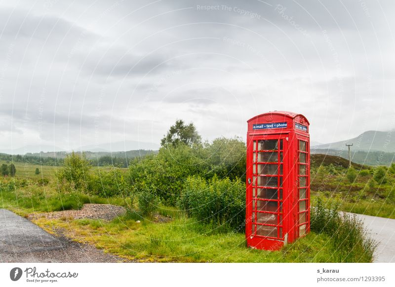 Lonely telephone booth in the Scottish Highlands Vacation & Travel Tourism Telephone Telecommunications Nature Landscape Plant Bad weather Meadow Field Scotland