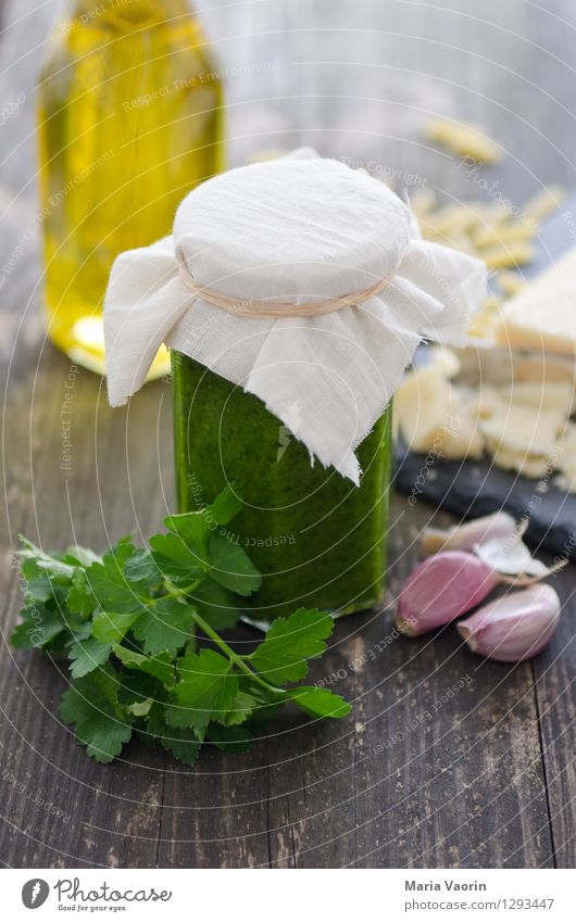 Pesto homemade 2 Food Herbs and spices Nutrition Lunch Organic produce Vegetarian diet Slow food Italian Food Fragrance Delicious Italien pesto Parsley