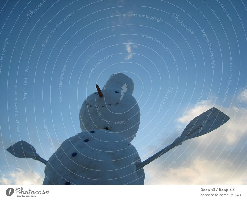 I wanna fly O.o. Clouds Light blue Blue White Gray Paddle Carrot Buttons Winter Cold Sky Orange Arm Snowman Hat Nose Mouth Flying Sphere Ice Laughter Grinning