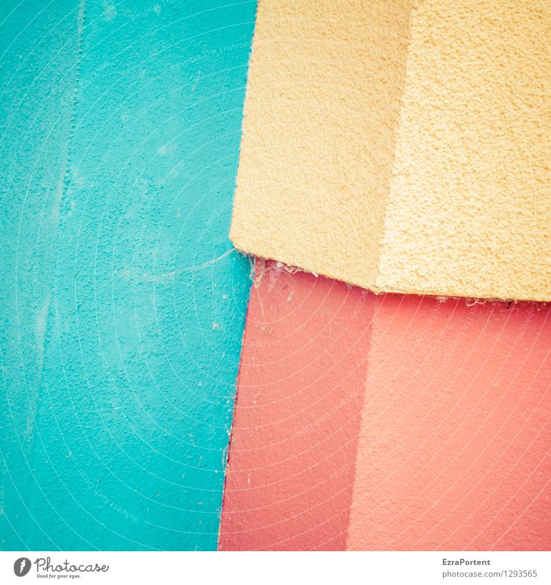 Blue Colour Red House (Residential Structure) Yellow Wall (building) Building Background picture Wall (barrier) Line Bright Facade Design Dirty Concrete Corner