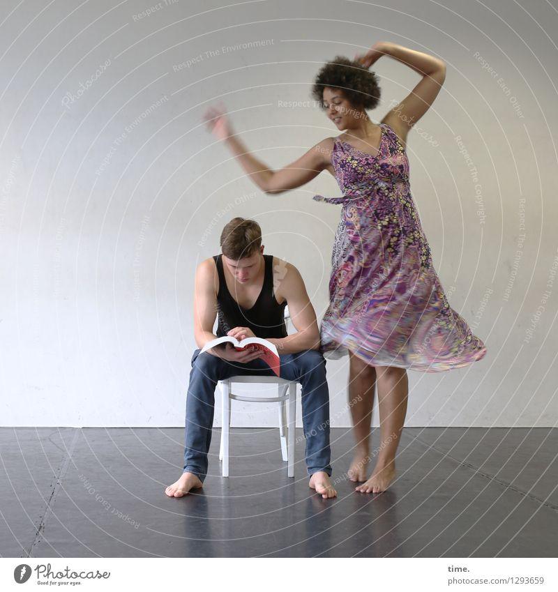 Human being Woman Man Beautiful Relaxation Joy Adults Movement Feminine Masculine Dream Room Blonde Sit Esthetic Dance