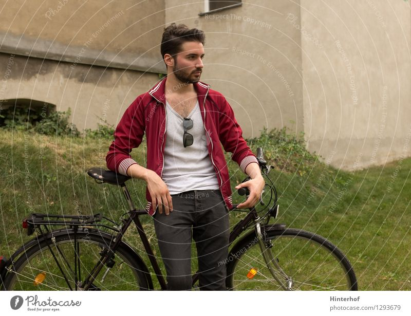 Young man with the bicycle - bicycle break Lifestyle Style Athletic Cycling Human being Masculine Youth (Young adults) 1 18 - 30 years Adults Environment